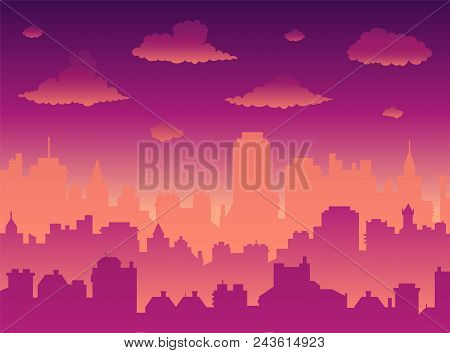 Flat Cityscape With Sunset Sky Over City And Sunset/sunrise. Modern Morning City Skyline Panoramic V