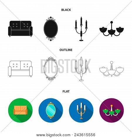 Sofa, Mirror, Candlestick, Chandelier.furniturefurniture Set Collection Icons In Black, Flat, Outlin