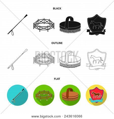 Aviary, Whip, Emblem, Hippodrome .hippodrome And Horse Set Collection Icons In Black, Flat, Outline