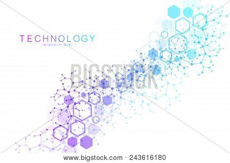 Scientific Molecule Background For Medicine, Science, Technology, Chemistry. Wallpaper Or Banner Wit