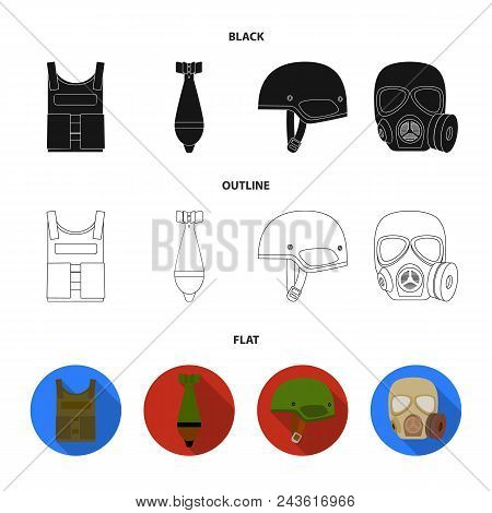 Bullet-proof Vest, Mine, Helmet, Gas Mask. Military And Army Set Collection Icons In Black, Flat, Ou