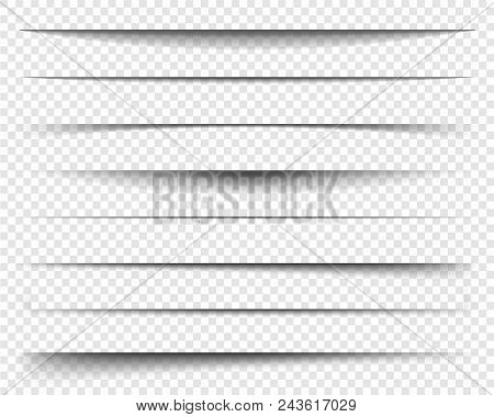 Page Dividers With Transparent Shadows, Isolated. Pages Separation Vector Set. Transparent Realistic
