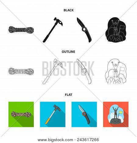 Climber On Conquered Top, Coil Of Rope, Knife, Hammer.mountaineering Set Collection Icons In Black,
