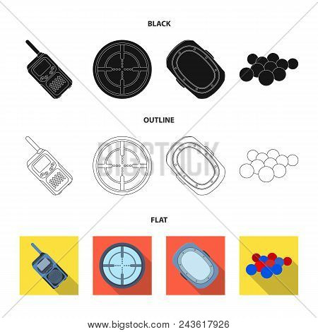 Balls With Paint And Other Equipment. Paintball Single Icon In Black, Flat, Outline Style Vector Sym