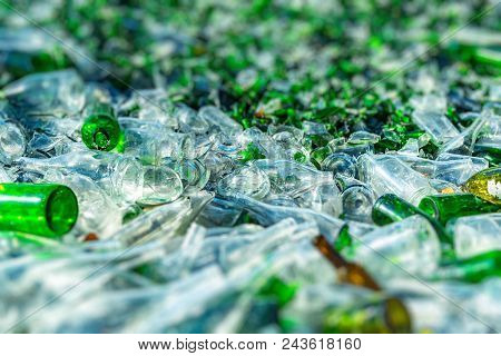 Background Of Recycle Pieces Of Broken Glass