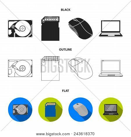 Computer Mouse, Laptop And Other Equipment. Personal Computervset Collection Icons In Black, Flat, O