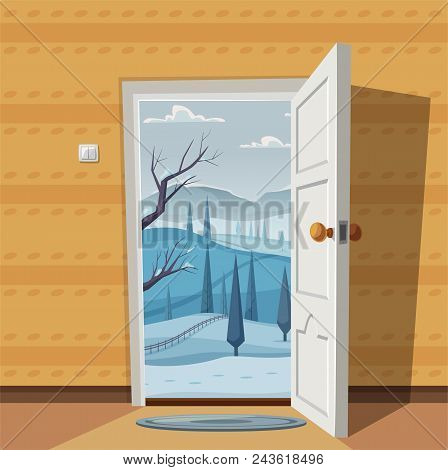 open door welcome welcoming open door valley landscape cartoon vector illustration vintage poster welcome to real photo free trial bigstock