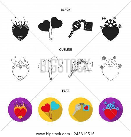 Hot Heart, Balloons, A Key With A Charm, A Cold Heart. Romantic Set Collection Icons In Black, Flat,