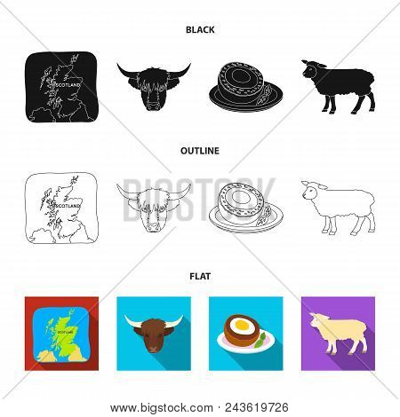 Territory On The Map, Bull Head, Cow, Eggs. Scotland Country Set Collection Icons In Black, Flat, Ou