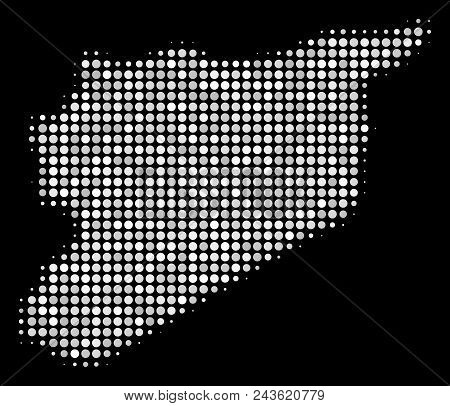 Syria Map Composition Of Small Spheres On A Black Background. Vector Small Spheres Are Combined Into