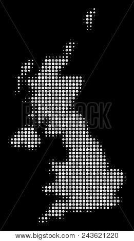 United Kingdom Map Collage Of Spheric Points On A Black Background. Vector Round Elements Are Groupe