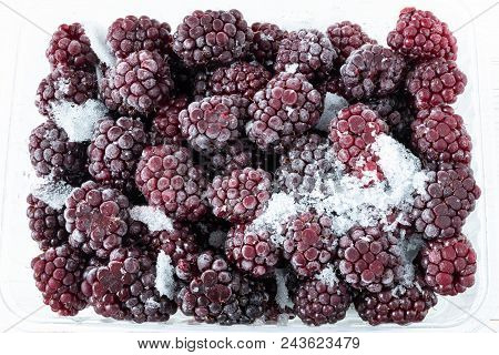 Frozen Blackberry Frozen Fruit. Top View, The Apartment Was Lying, Close-up.