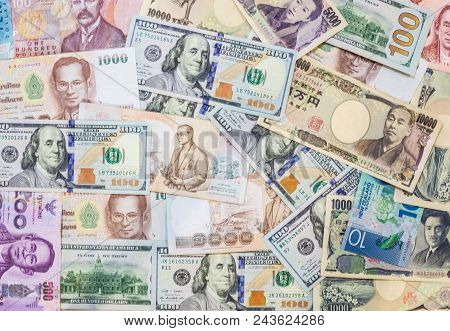 Various International Foreign Currency Banknotes Background. International Trade, Money Cross Border