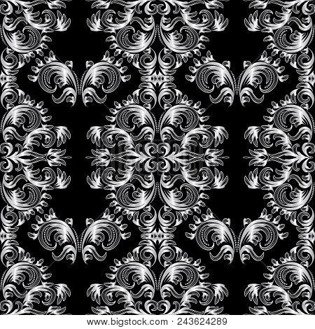 Vintage Floral Baroque Seamless Pattern. Black White Vector Background Wallpaper With Hand Drawn Lin
