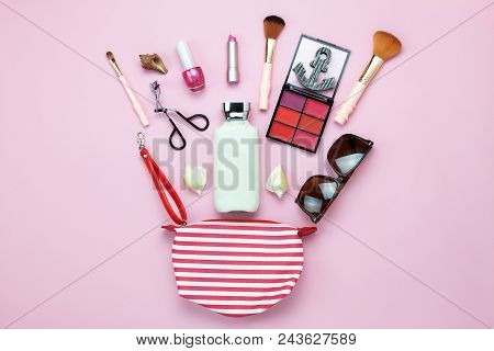 Table Top View Women Fashion & Beauty For Travel Summer Holiday Background Concept.flat Lay Accessor