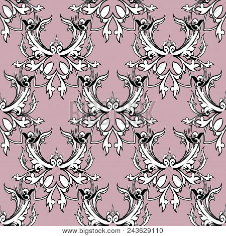 Damask Floral Seamless Pattern. Light Pink Background Wallpaper With Black White Scroll Swirl Leaves
