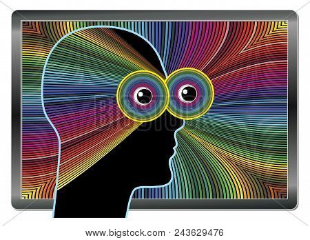 Suffering From Computer Vision Syndrome. Digital Eye Strain Causing Blurred Vision
