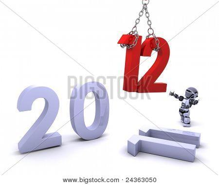 3D render de um robô, trazendo o ano novo em