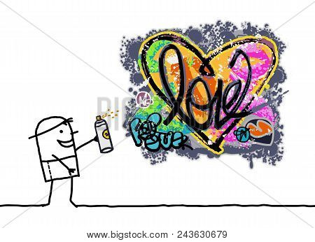 Vector Cartoon Man Designing A Grunge Heart