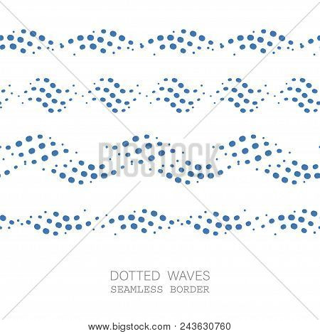 Dotted Wave Seamless Border Pattern Set. Stock Vector Illustration Of Flowing Water In Blue Color.