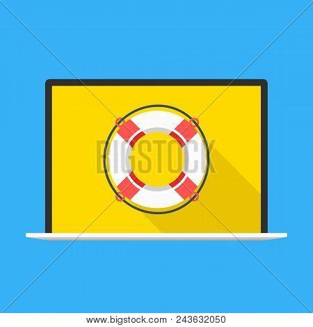Laptop With Lifebuoy On Screen. Modern Flat Design. Vector Illustration