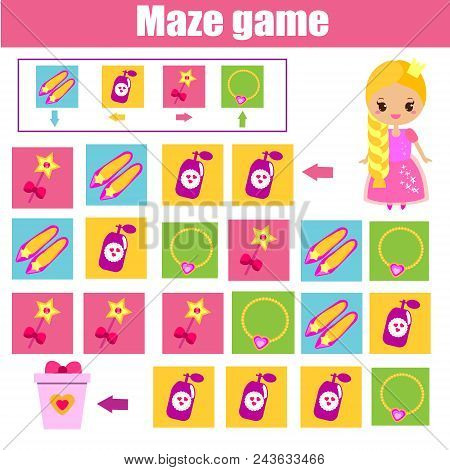 Maze Children Game: Help Princess Find Way. Kids Activity Sheet. Logic Game With Code And Cipher Nav