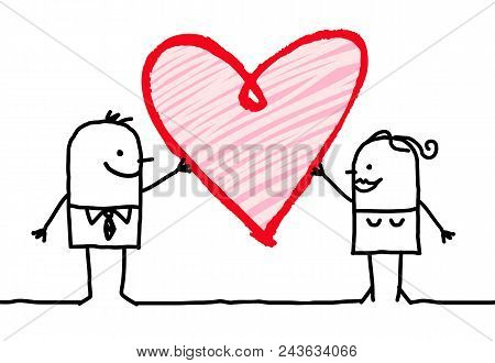 Vector Cartoon Couple Sharing A Big Heart