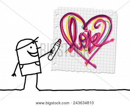 Vector Cartoon Boy Drawing A Sketchy Heart On Paper