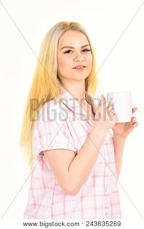 Woman, Attractive Young Lady In Pajama. Morning Coffee Concept. Girl On Smiling Face Holds Mug, Enjo