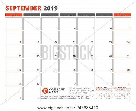 Calendar Template For September 2019. Business Planner Template. Stationery Design. Week Starts On S