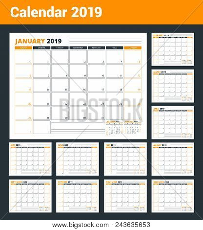 Calendar Template For 2019 Year. Business Planner Template. Stationery Design. Week Starts On Sunday