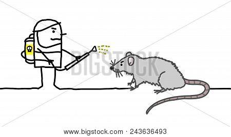 Vector Cartoon Exterminator Man With Big Rat