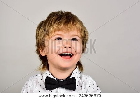 Small Boy In White Shirt. Close Up Portrait. Fashionable Little Child In Shirt. Retro Style. Happy S