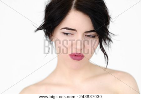 Emotion Face. Thoughtful Pensive Depressive Woman Looking Sideways. Young Beautiful Brunette Girl Po