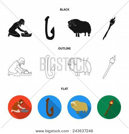Cattle, Catch, Hook, Fishing .stone Age Set Collection Icons In Black, Flat, Outline Style Vector Sy