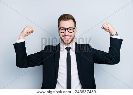 Portrait Of Successful Arrogant Overconfident Professional Worker Wearing Black Classic Outfit Demon