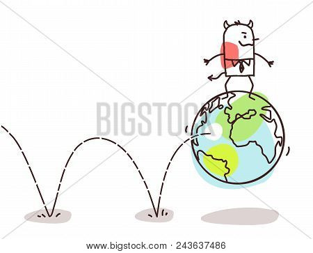Vector Cartoon Evil Man Playing And Bounces With The Earth