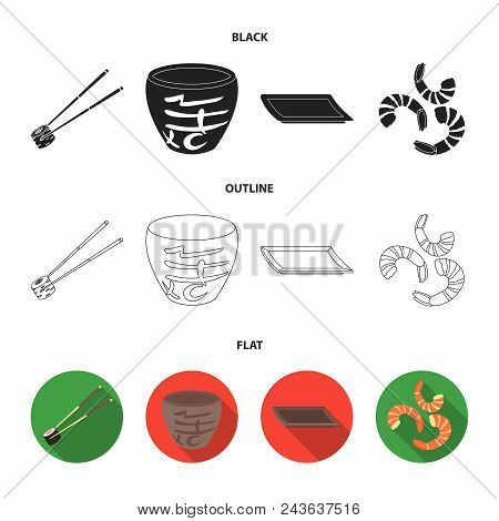 Sticks, Shrimp, Substrate, Bowl.sushi Set Collection Icons In Black, Flat, Outline Style Vector Symb