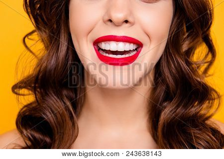 Close Up Cropped Half Face Portrait Of Toothy Cheerful Girl With Beaming Smile Healthy White Teeth L