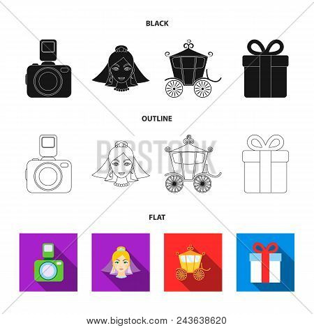 Bride, Photographing, Gift, Wedding Car. Wedding Set Collection Icons In Black, Flat, Outline Style