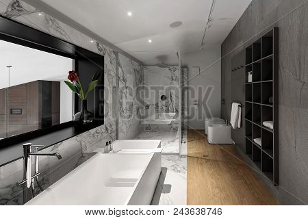 Trendy Modern Bathroom With White And Tiled Walls. There Is A Large White Bath With Chrome Faucet, W