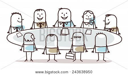 Vector Cartoon Business Teamwork Around A Table