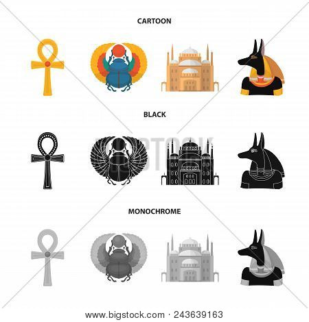 Anubis, Ankh, Cairo Citadel, Egyptian Beetle.ancient Egypt Set Collection Icons In Cartoon, Black, M