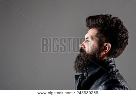 Profile Portrait Of Bearded Man. Barber Shop Concept. Fashion. Trendy Clothes. Bearded Man In Black