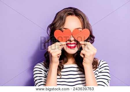 Portrait Of Lovely Creative Girl With White Teeth Red Pomade Covering Closing Eyes With Two Carton P