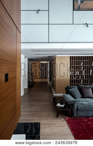 Hall In A Modern Style With Light Walls And A Parquet With A Red Carpet On A Floor. There Is A Sofa