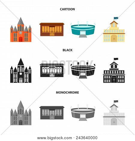House Of Government, Stadium, Cafe, Church.building Set Collection Icons In Cartoon, Black, Monochro
