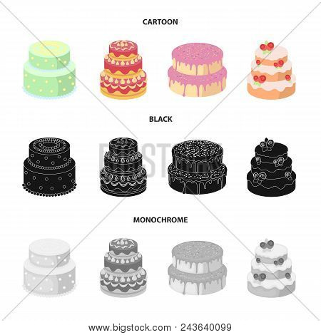 Sweetness, Dessert, Cream, Treacle .cakes Country Set Collection Icons In Cartoon, Black, Monochrome