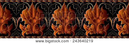 Baroque Vector Seamless Border Pattern. Luxury Floral Background. Damask Ornaments With Bright Orang