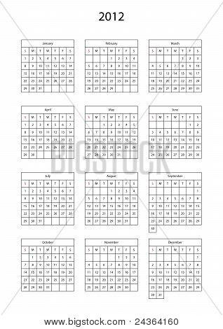 Calendar template for 2012